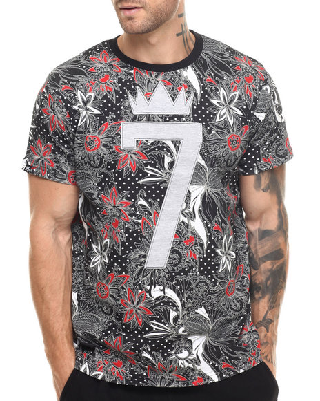 Buyers Picks - Men Black King 7 Floral Print S/S Tee