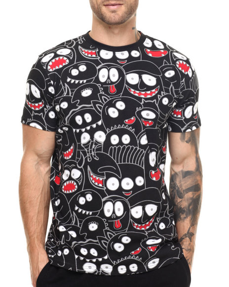 Buyers Picks - Men Black Staring Faces S/S Tee - $14.99