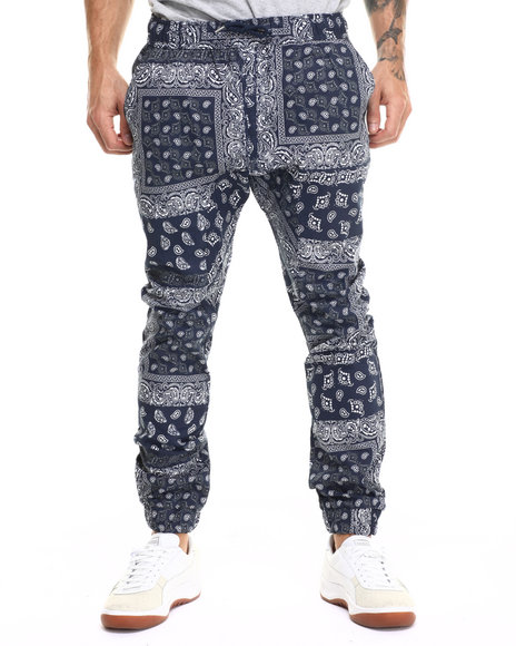 Ur-ID 217500 Basic Essentials - Men Navy Bandana - Print Twill Jogger Pants