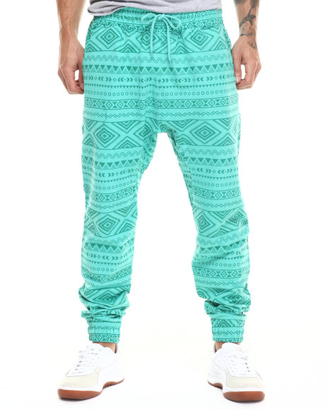 Ur-ID 217528 Buyers Picks - Men Green Aztec Vintage Print Joggers