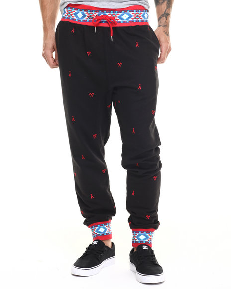 Buyers Picks - Men Black Aztec Embroidery Cuff Jogger Pants
