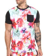 Men - Floral print patch pocket s/s tee