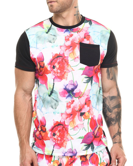 Buyers Picks - Men Black Floral Print Patch Pocket S/S Tee