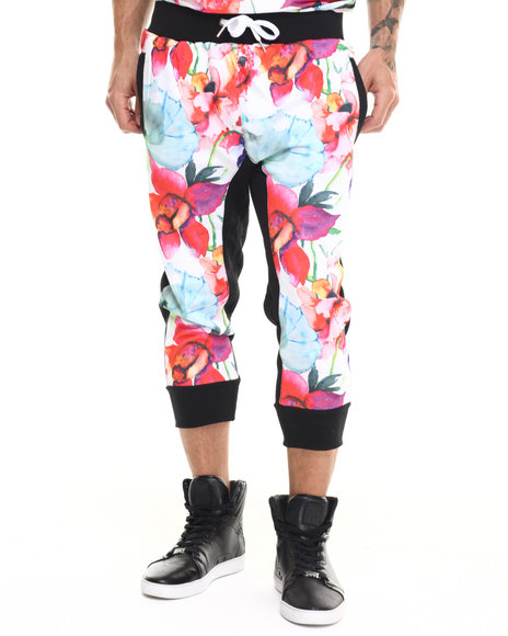 Buyers Picks - Men Black Floral Print Latch Jogger Shorts