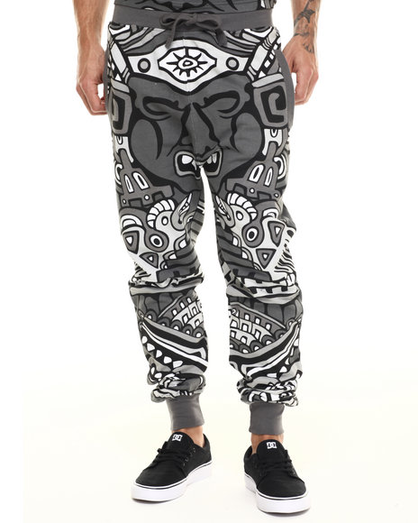 Ur-ID 217550 Buyers Picks - Men Black All Over Tribal King Jogger Pants