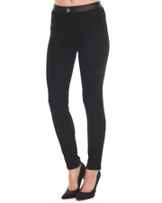 Women - Premium Faux Leather Trim Scuba Ankle Pant