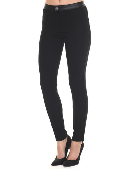 Ur-ID 217574 Bianco Jeans - Women Black Premium Faux Leather Trim Scuba Ankle Pant