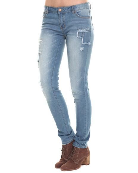 Bianco Jeans - Women Light Wash Premium Patchwork Skinny Jean