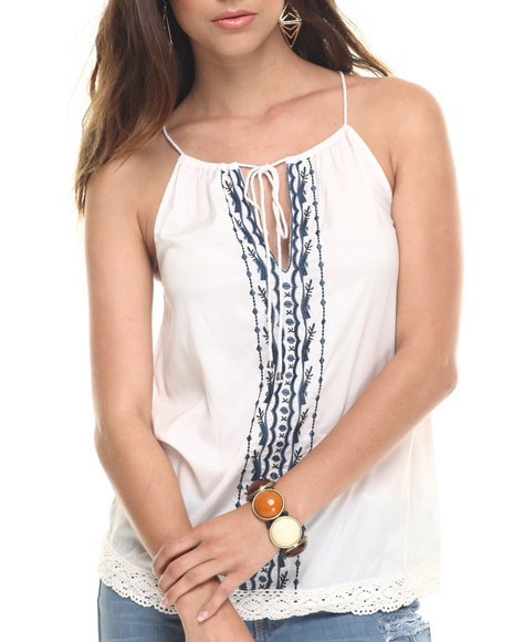 Bianco Jeans - Women White Premium Embroidered Bohemian Tank Top