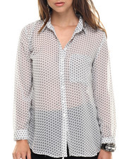 Polos & Button-Downs - Premium Printed Chiffon Shirt