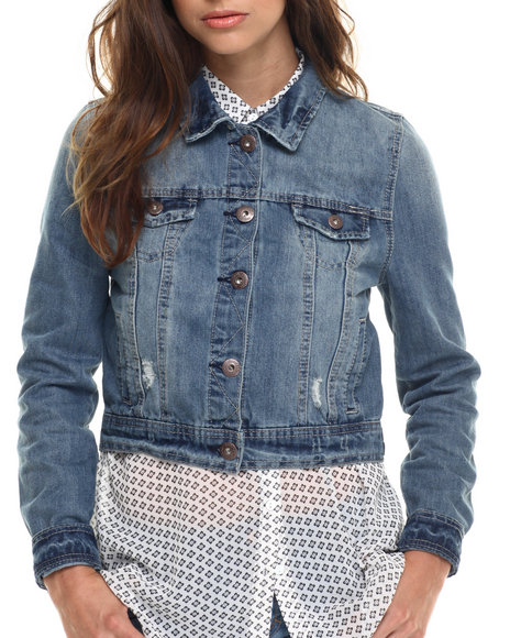 Ur-ID 217600 Freestyle - Women Dark Wash Dark Sandblasted  Denim Jacket