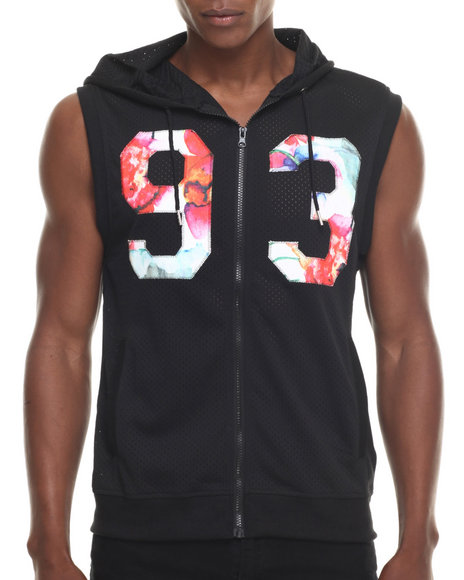 Buyers Picks - Men Black Floral & Mesh Hoody Vest
