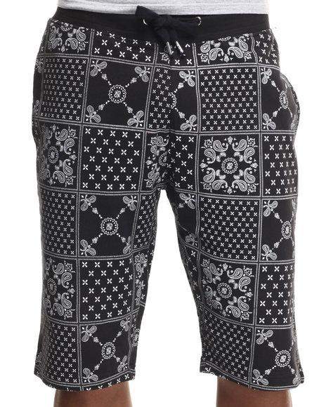 Ur-ID 217619 Buyers Picks - Men Black Bandana Print Remix Drawstring Shorts