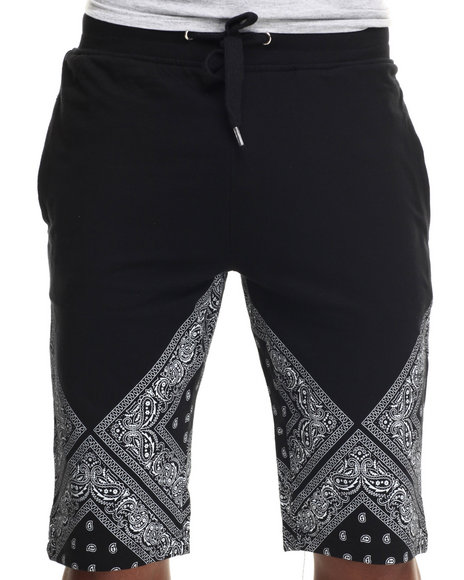 Buyers Picks - Men Black Bandana Print Double 0 Drawstring Shorts