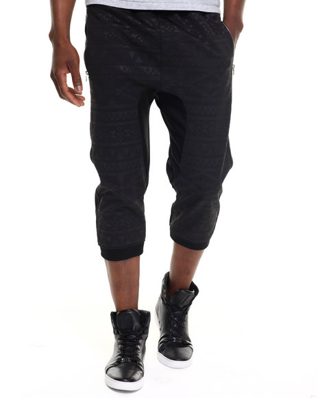 Buyers Picks - Men Black Aztec Print Jogger Shorts