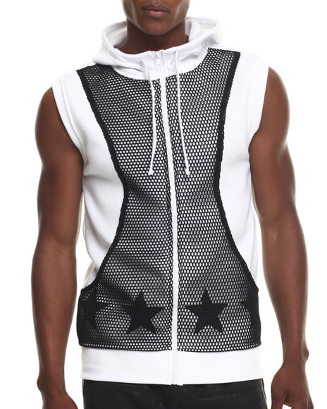 Buyers Picks - Men White Mesh Trim Sleveless Hoodie