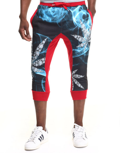 Buyers Picks - Men Red Diamond & Leaf Jogger Shorts