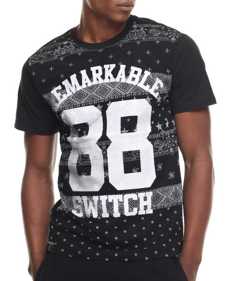 Buyers Picks - Men Black Remarkable 2 Bandana Print S/S Tee - $14.99