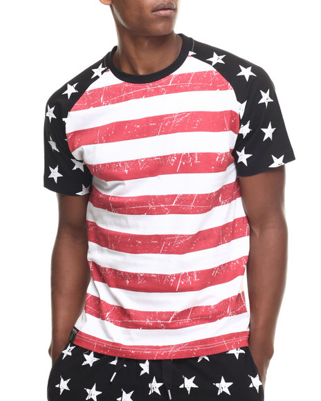 Buyers Picks - Men Black Stars & Stripes Mix S/S Tee - $25.99