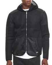 Men - Full Mesh Hoody jacket w/ Faux leather trim