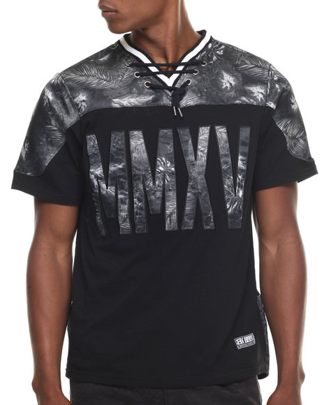 Buyers Picks - Men Black Rugby Style V-Neck Tropical Print S/S Tee - $19.99