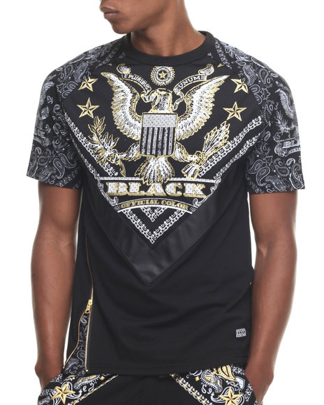 Ur-ID 217657 Buyers Picks - Men Black Bandana & America Pattern Raglan S/S Tee