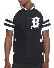 Jerseys - Faux Leather Trim  Patch baseball tee