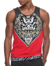 Buyers Picks - Bandana & America Pattern tank top w/ Faux leather trim tank top