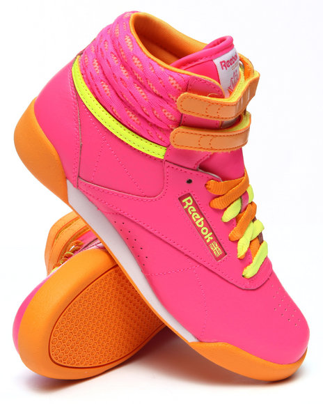 Reebok - Girls Pink Freestyle High Sneakers (3.5-7)