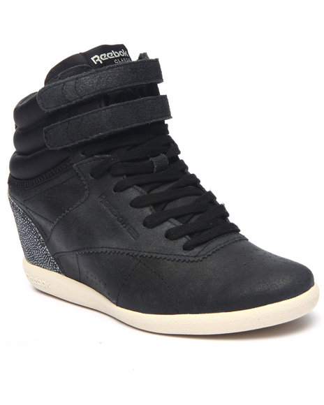 Ur-ID 217598 Reebok - Women Black Freestyle Wedge Sneakers
