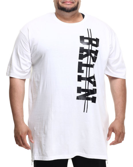 Akademiks - Men White Bk E-Longated Side Zipper S/S Tee (B&T)