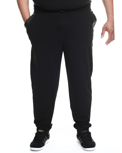Ur-ID 217228 Akademiks - Men Black Washington Ostrich Embosed Faux Leather Jogger Sweatpants (B&T)