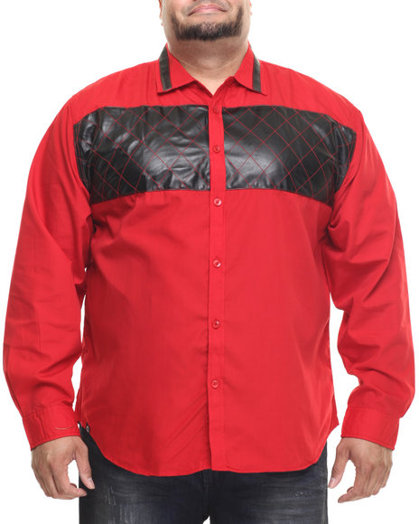 Akademiks - Men Red Amarillo  L/S Faux Leather Panel Button Down Shirt (B&T)