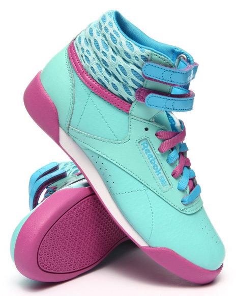 Reebok - Girls Light Blue Freestyle High Sneakers (3.5-7)
