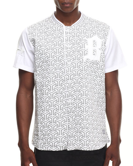 Ur-ID 217615 Buyers Picks - Men White Geometric Print Enamel Trim S/S Tee