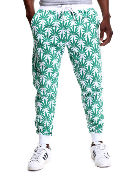 Buyers Picks - Men White Plant Life Allover Print Jogger Pants