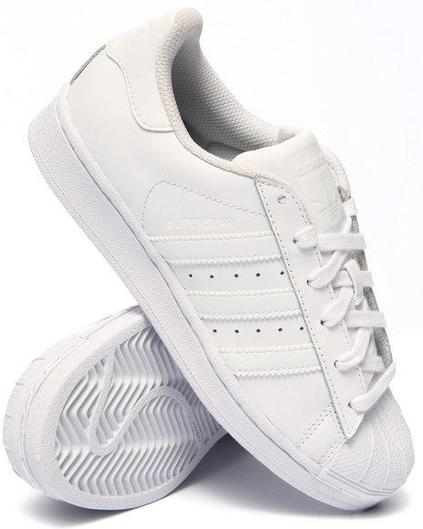 Adidas - Boys White,White Superstar J Sneakers (3.5-7)