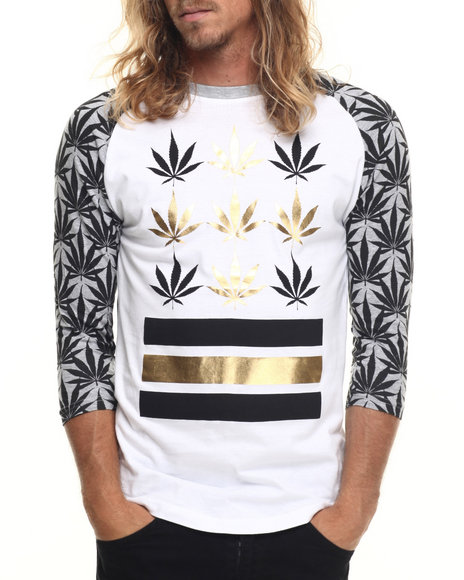 Buyers Picks - Men Grey Plant Life 2 Raglan Tee