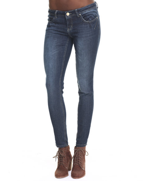 Ur-ID 217727 Basic Essentials - Women Dark Wash Rebel By Right Darted 5 Pocket Skinny Jean