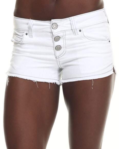 Basic Essentials - Women White Flap Pocket Beach Short