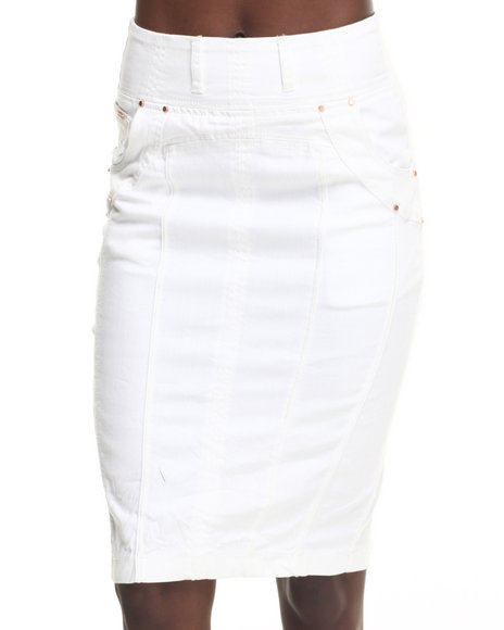 Ur-ID 217729 Fashion Lab - Women White Knit Denim Pencil Skirt