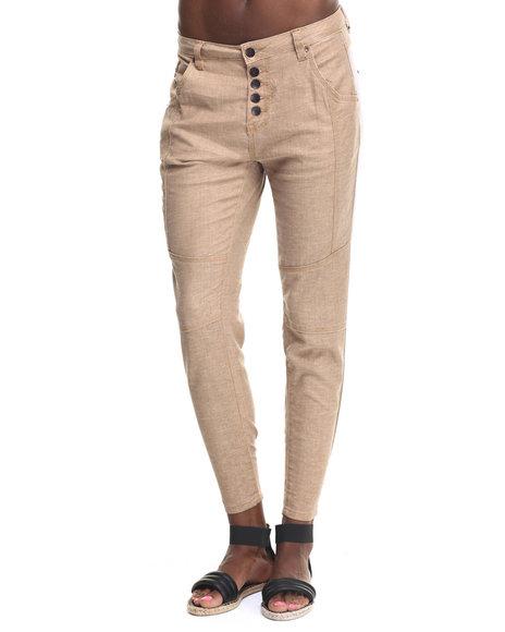 Ur-ID 217734 Bianco Jeans - Women Tan Premium Stretch Linen Boyfriend Skinny Pant