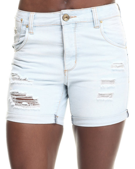 Ur-ID 217738 Basic Essentials - Women Light Wash Drop Crotch Destructed X-Boyfriend Short