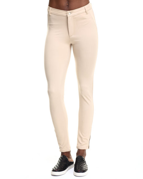 Ur-ID 217741 Bianco Jeans - Women Khaki Premium Light Scuba Ankle Zip Pant