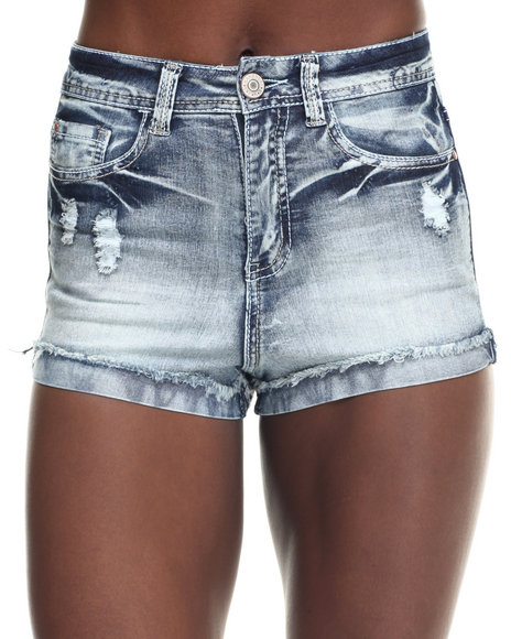 Ur-ID 217742 Fashion Lab - Women Dark Wash Roll Cuff High Waist Short