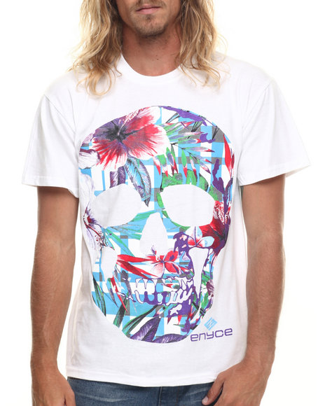 Enyce - Men White Floral Skull T-Shirt - $15.99