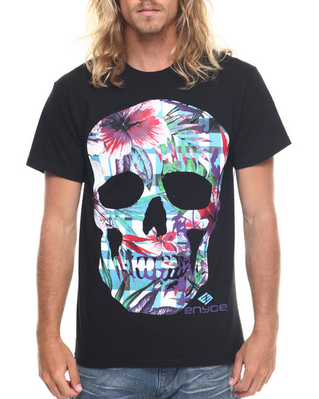 Ur-ID 217750 Enyce - Men Black Floral Skull T-Shirt