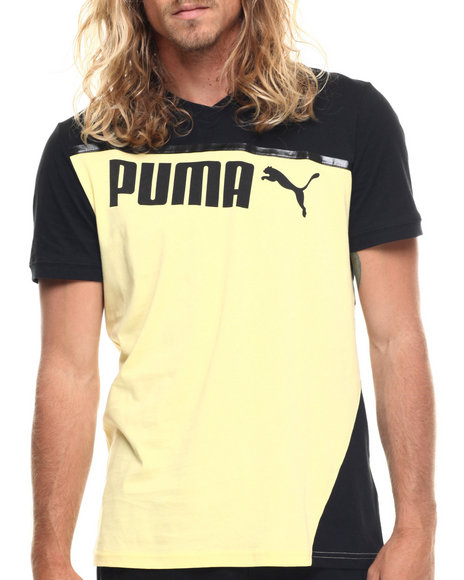 Puma - Men Yellow,Black Clash S/S Tee