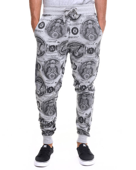 Buyers Picks - Men Grey Ca$H Money Drawstring Jogger Pants