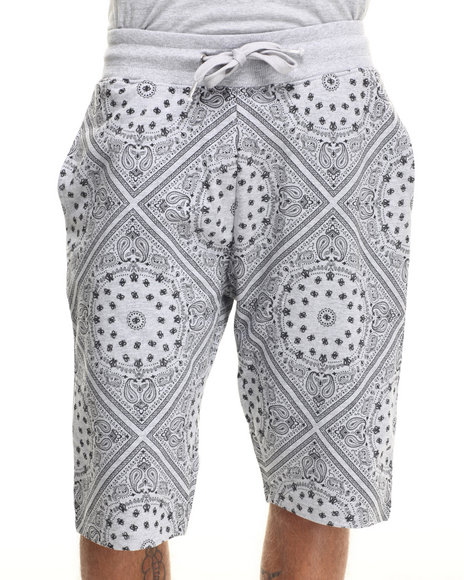 Buyers Picks - Men Grey Bandana Print Shorts